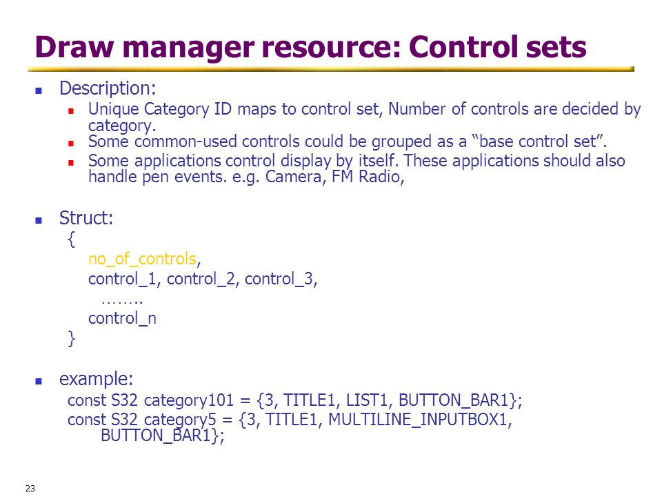 Draw manager resource: Control sets