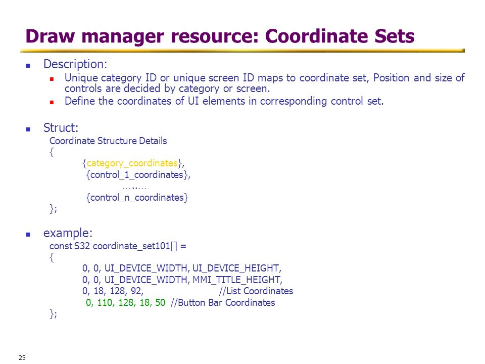 Draw manager resource: Coordinate Sets