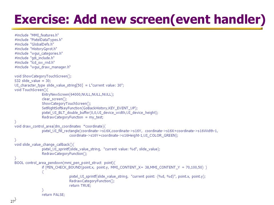 Exercise: Add new screen(event handler)
