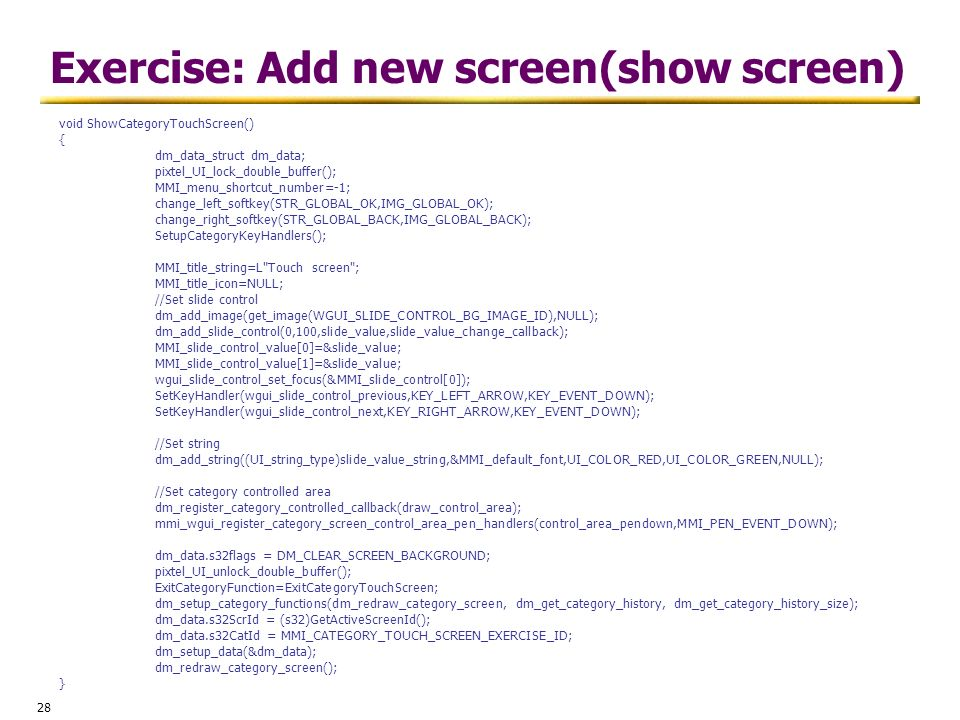 Exercise: Add new screen(show screen)