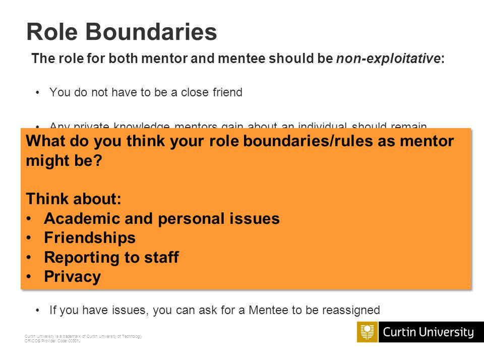 Role Boundaries The role for both mentor and mentee should be non-exploitative: You do not have to be a close friend.