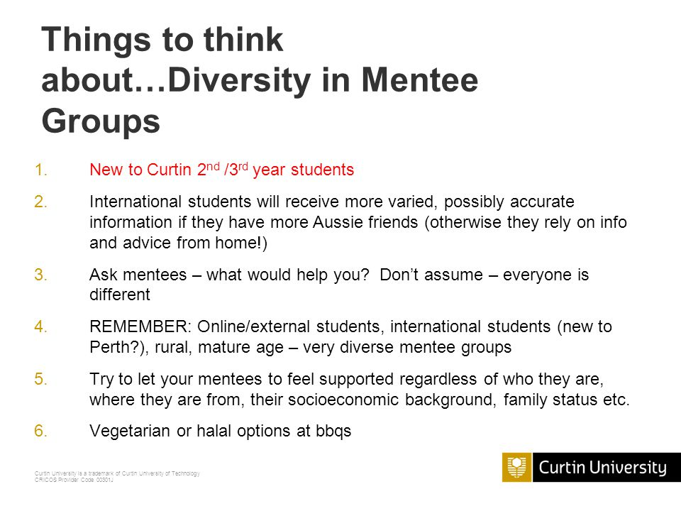 Things to think about…Diversity in Mentee Groups