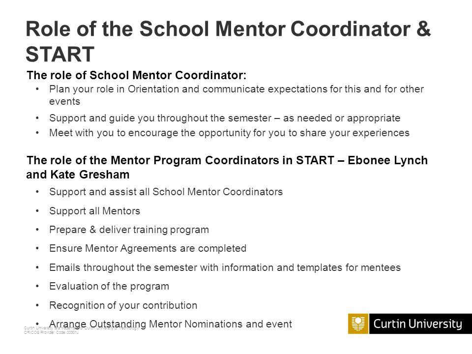 Role of the School Mentor Coordinator & START