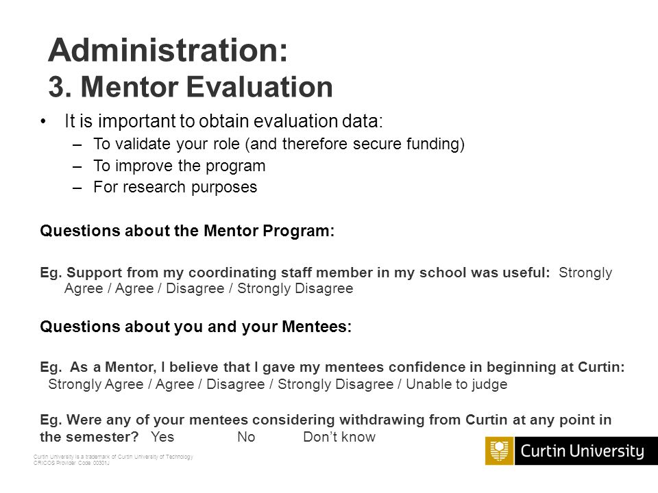 Administration: 3. Mentor Evaluation