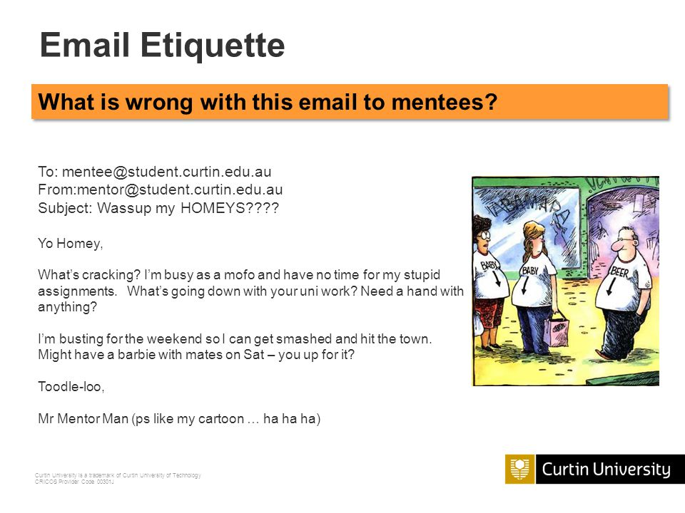 Etiquette What is wrong with this  to mentees