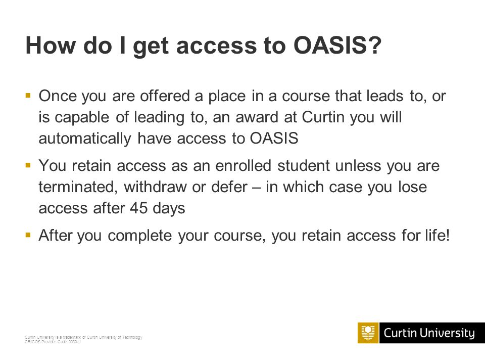 How do I get access to OASIS