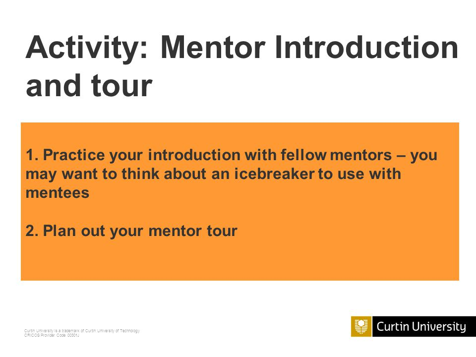 Activity: Mentor Introduction and tour