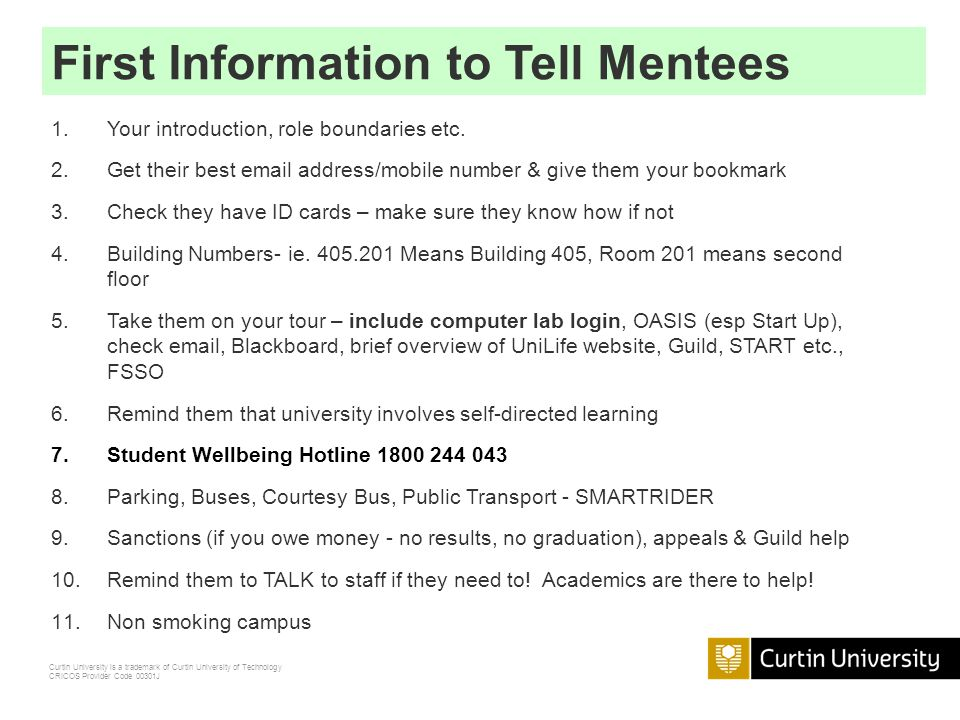 First Information to Tell Mentees