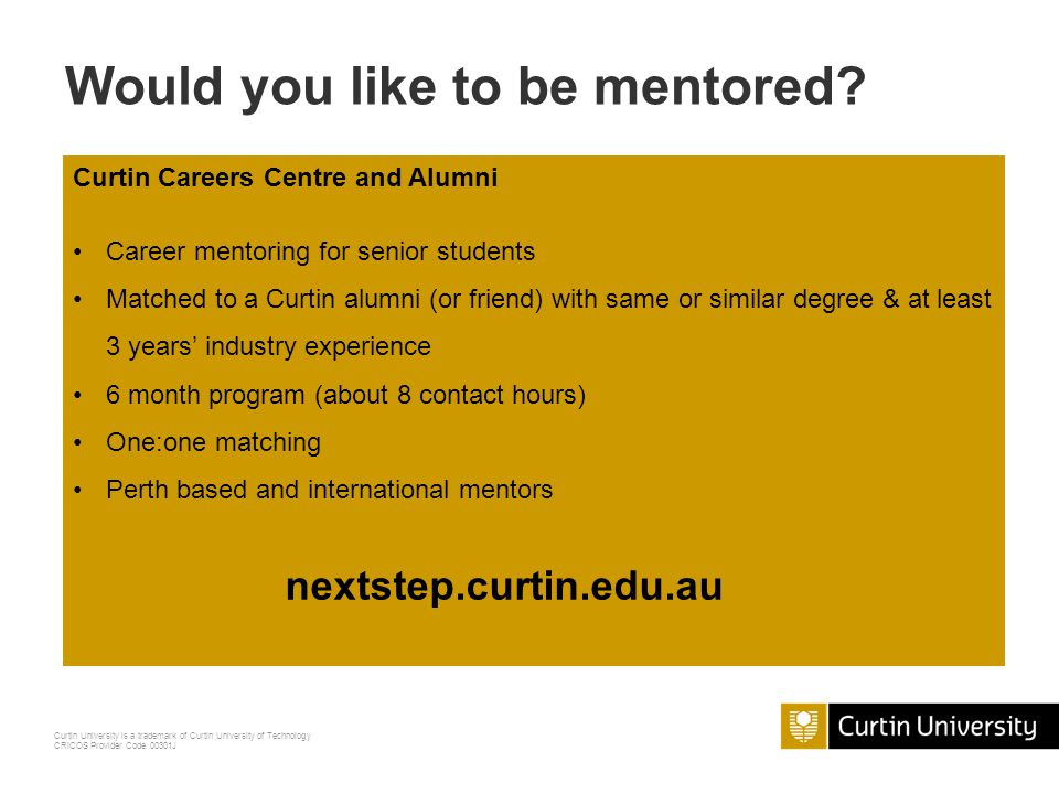 Would you like to be mentored NEXT STEP Mentor Program
