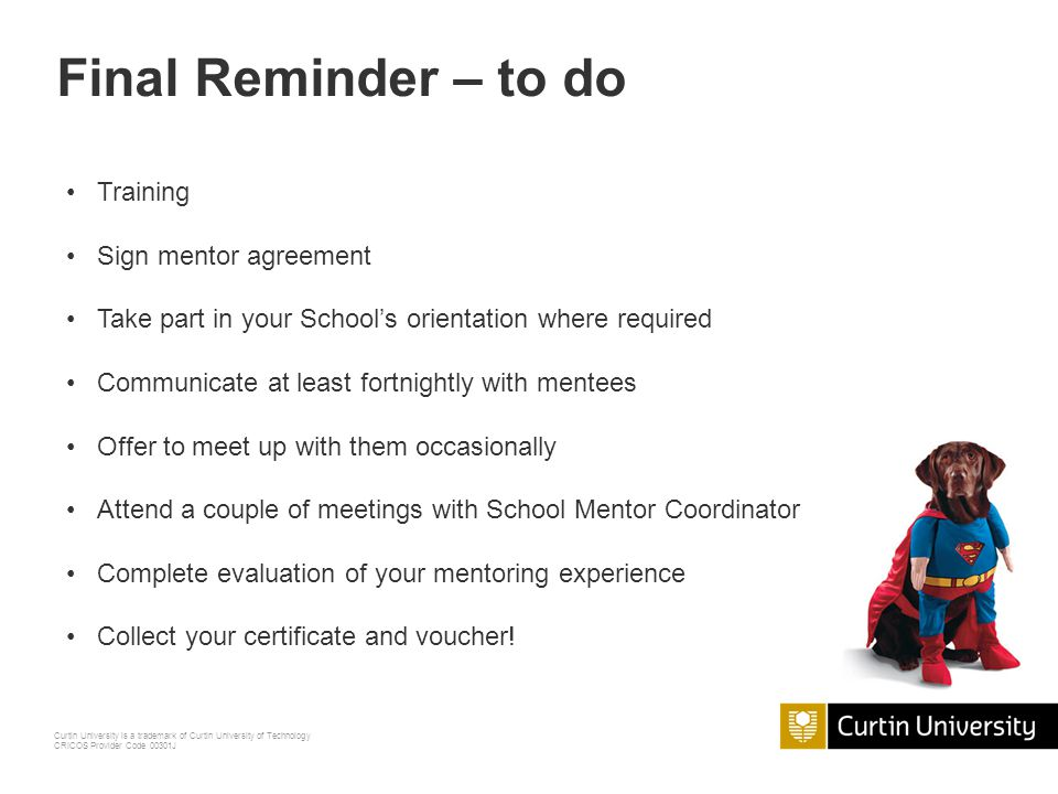 Final Reminder – to do Training Sign mentor agreement
