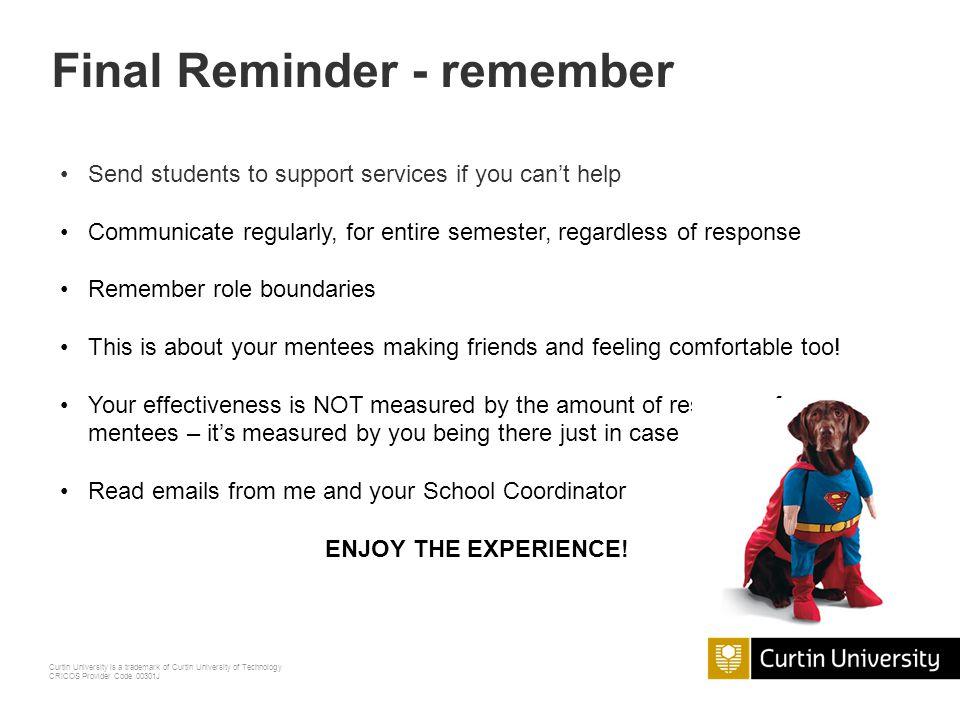 Final Reminder - remember