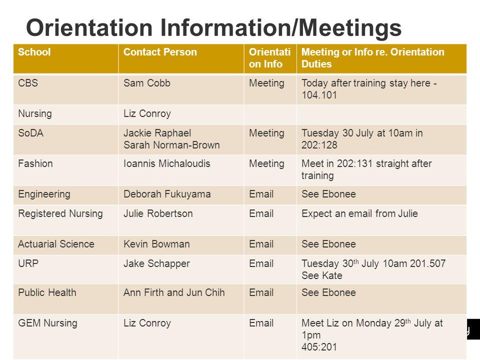 Orientation Information/Meetings