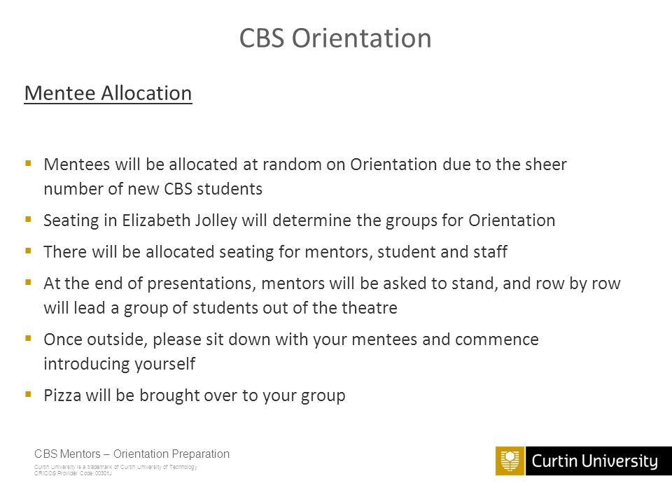CBS Orientation Mentee Allocation