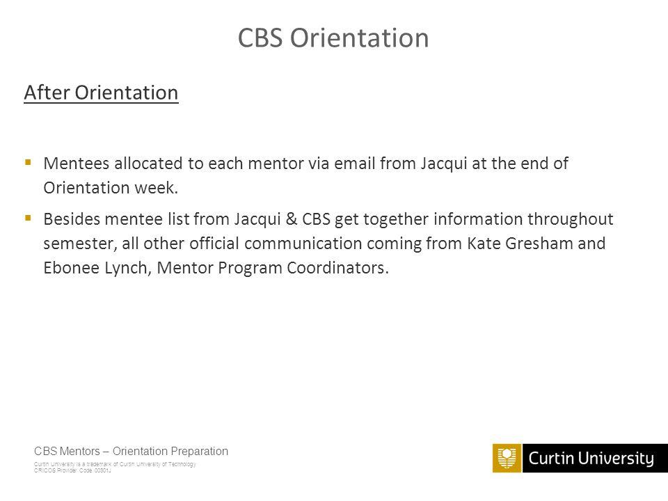 CBS Orientation After Orientation