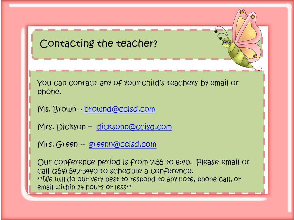 Contacting the teacher