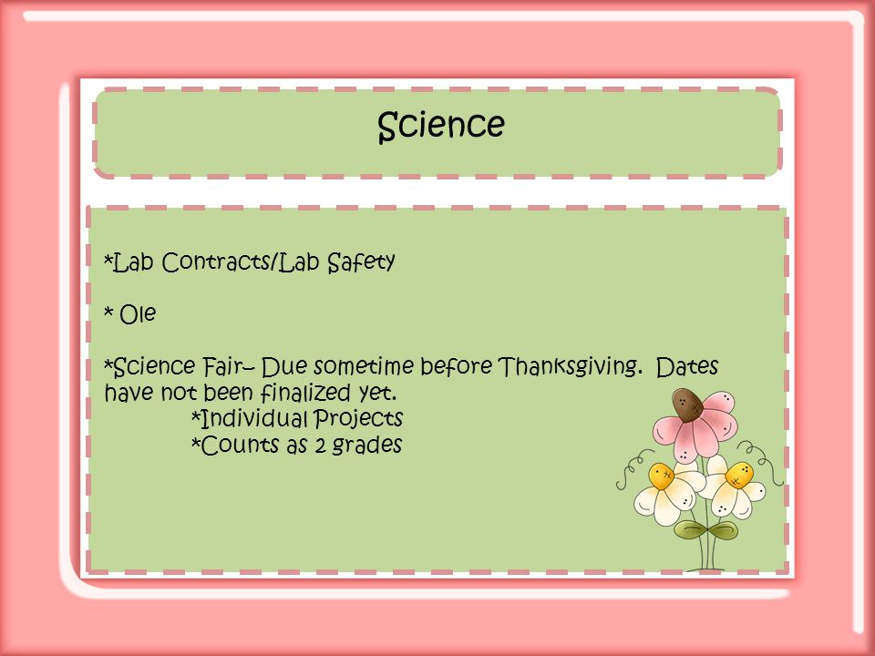 Science *Lab Contracts/Lab Safety * Ole