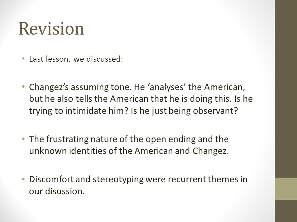 Revision Last lesson, we discussed: