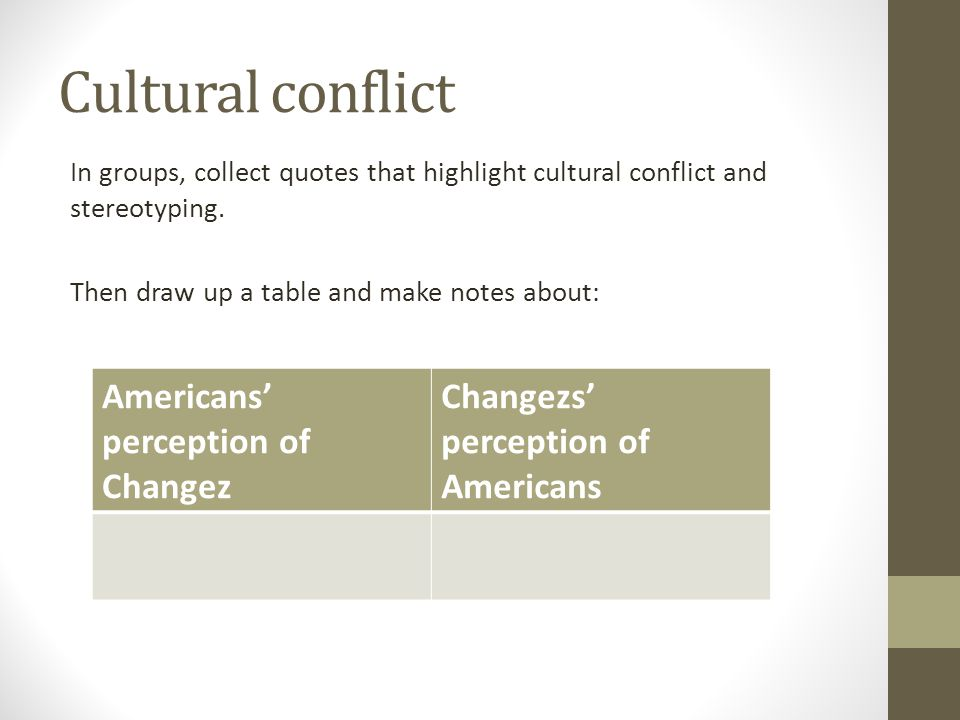 Cultural conflict Americans' perception of Changez