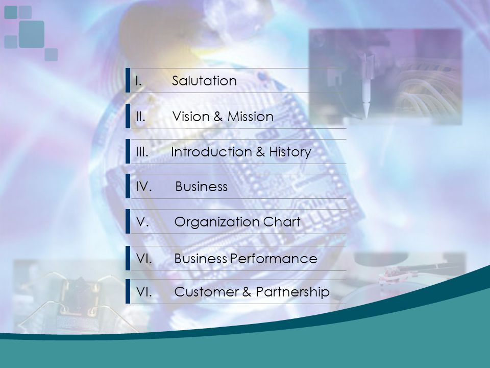 Salutation II. Vision & Mission. III. Introduction & History. IV. Business. Organization Chart.