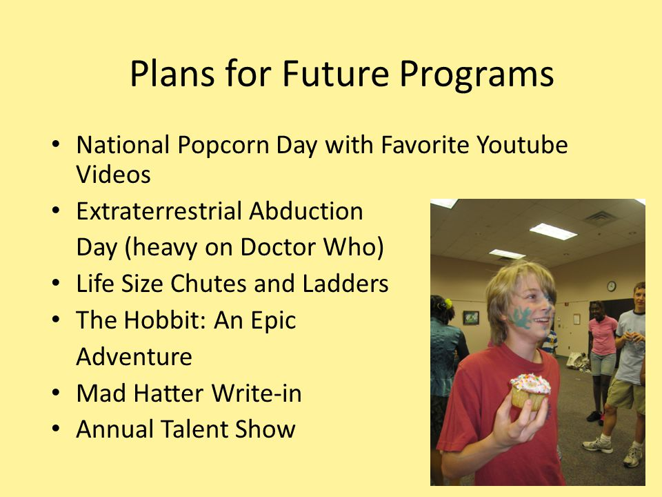 Plans for Future Programs