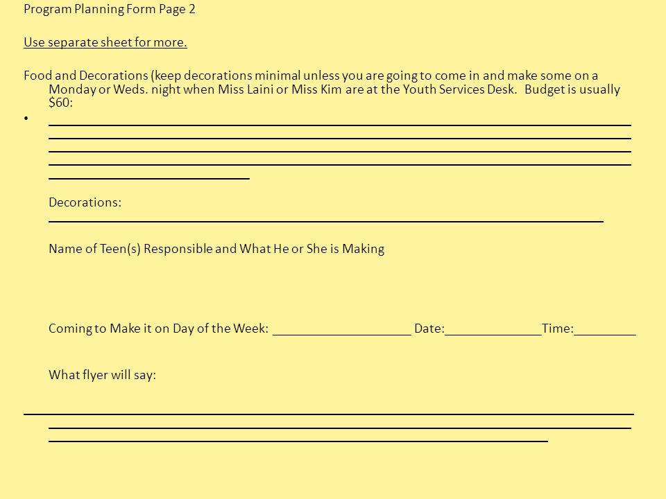 Program Planning Form Page 2