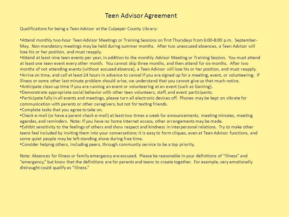 Teen Advisor Agreement