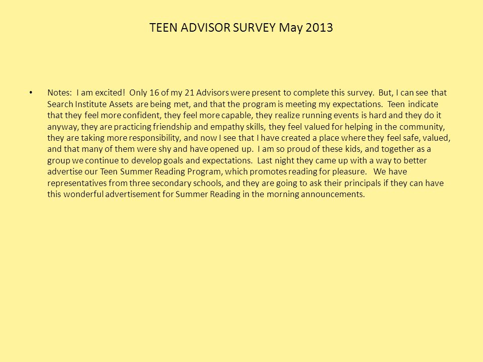 TEEN ADVISOR SURVEY May 2013
