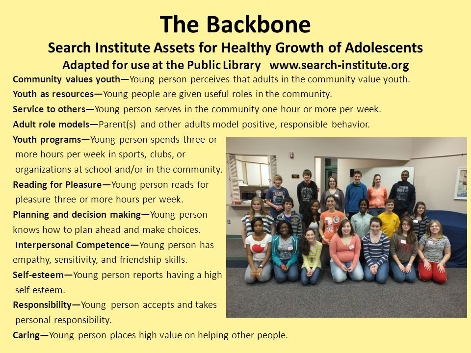 Adapted for use at the Public Library www.search-institute.org