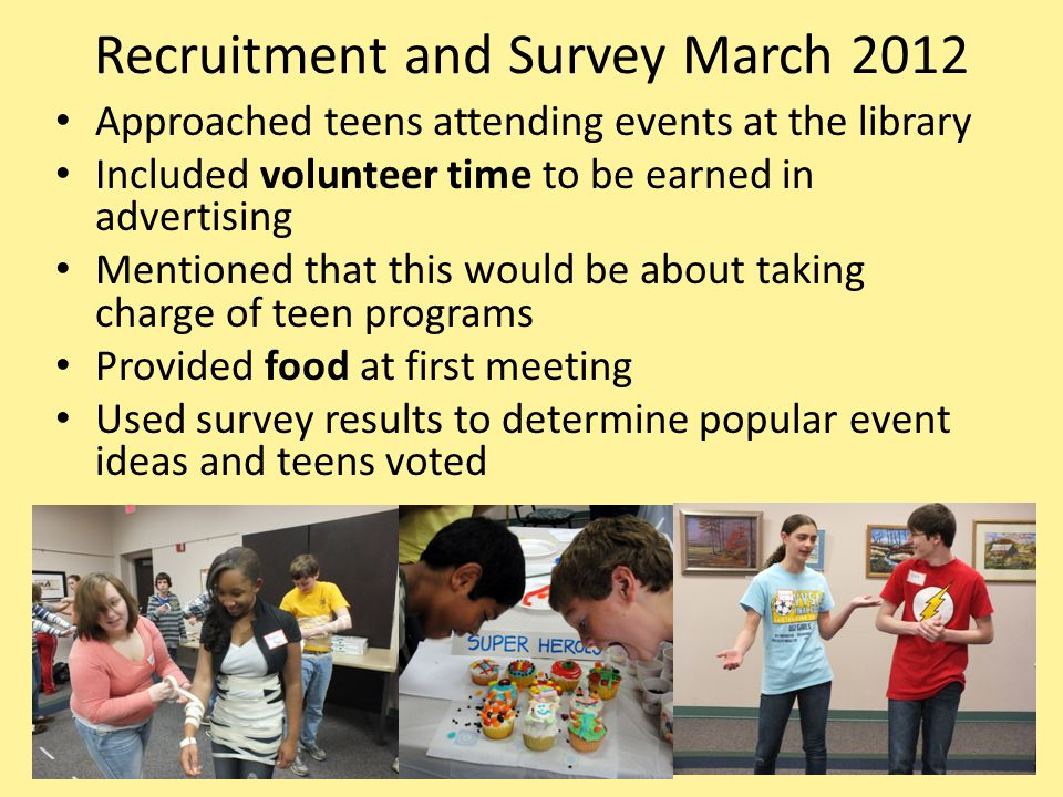 Recruitment and Survey March 2012