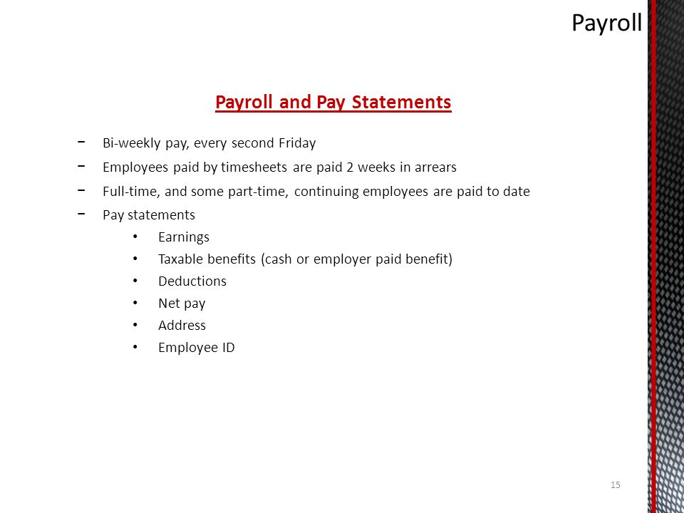 Payroll and Pay Statements