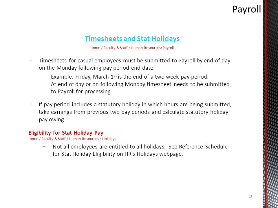 Timesheets and Stat Holidays