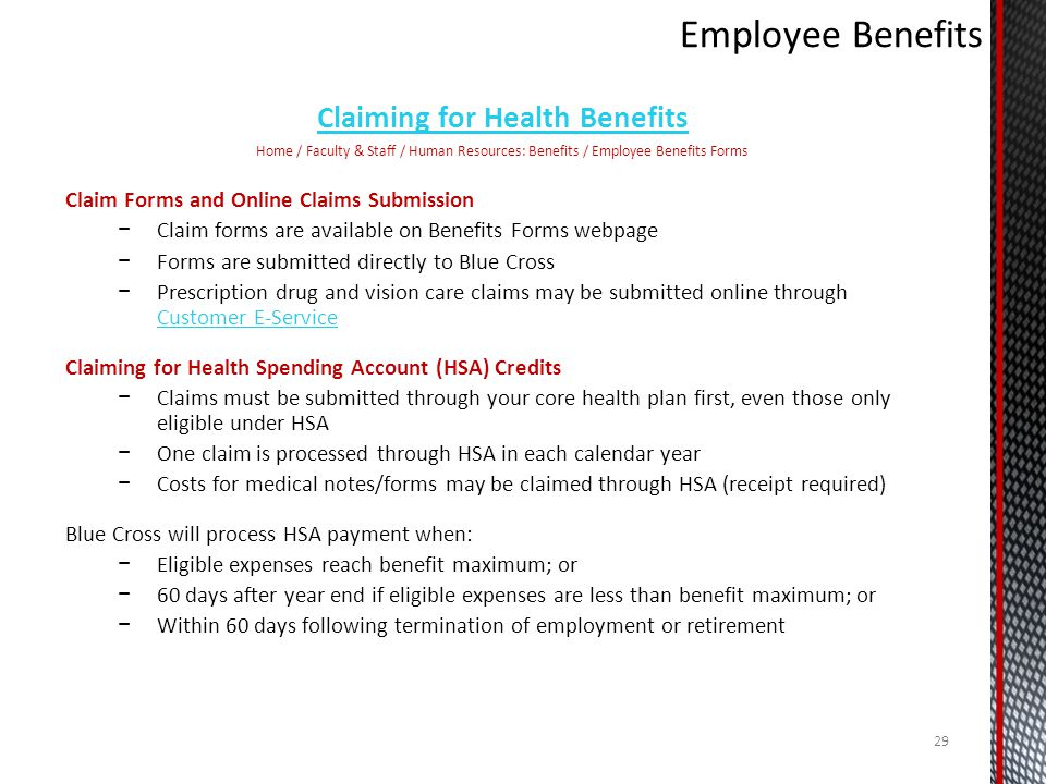 Claiming for Health Benefits