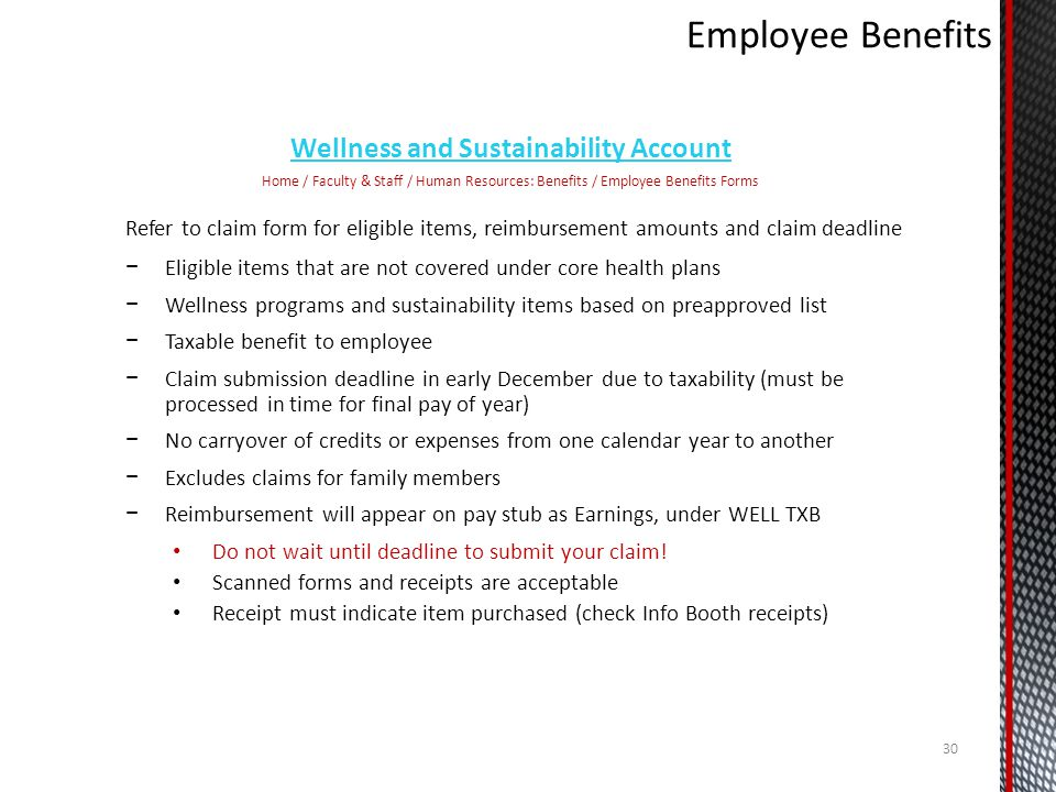 Wellness and Sustainability Account