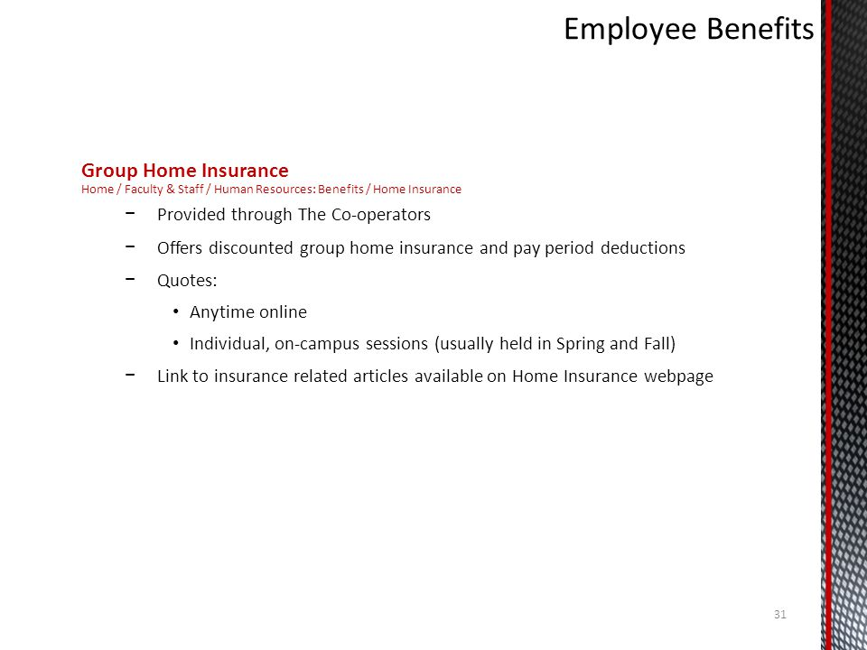 Employee Benefits Group Home Insurance