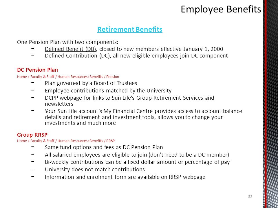 Employee Benefits Retirement Benefits