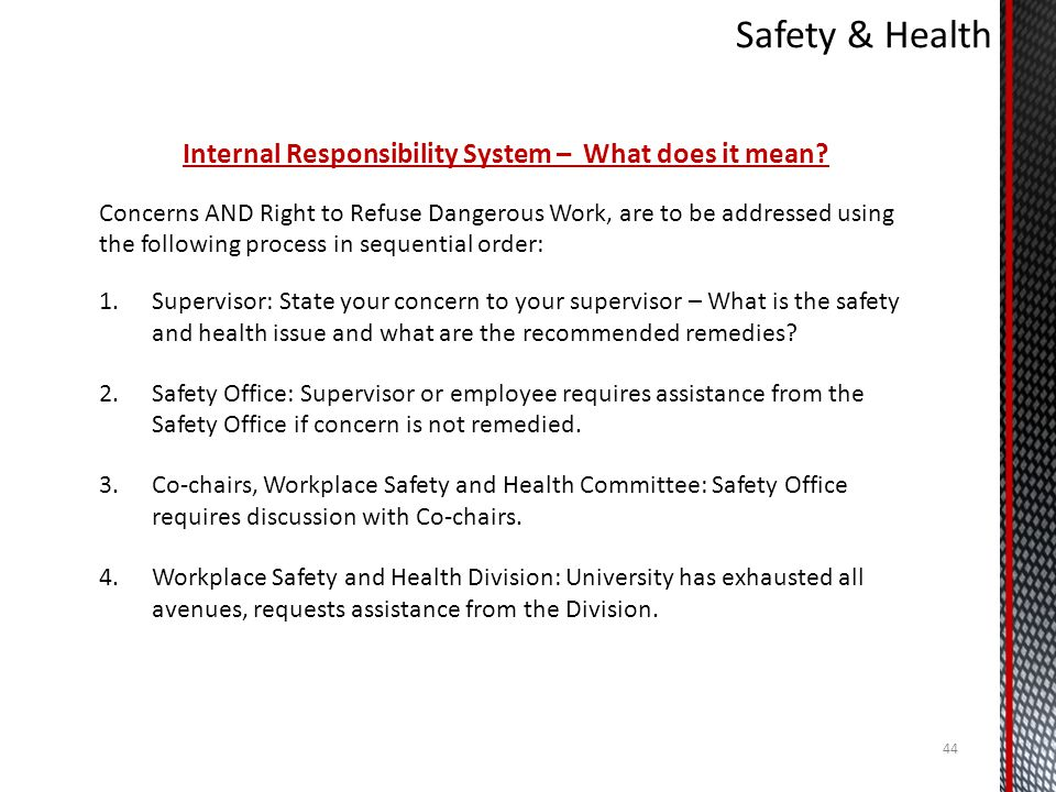 Internal Responsibility System – What does it mean