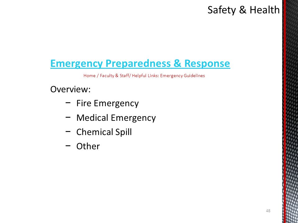 Home / Faculty & Staff/ Helpful Links: Emergency Guidelines