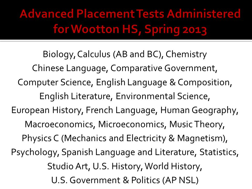 Advanced Placement Tests Administered for Wootton HS, Spring 2013