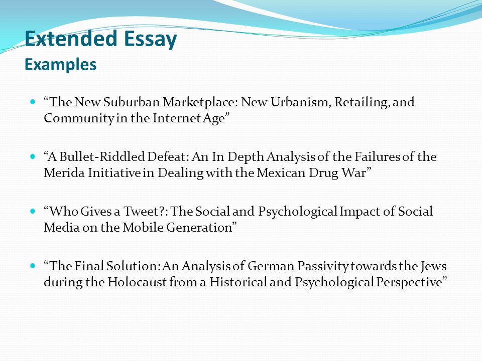 Extended Essay Examples
