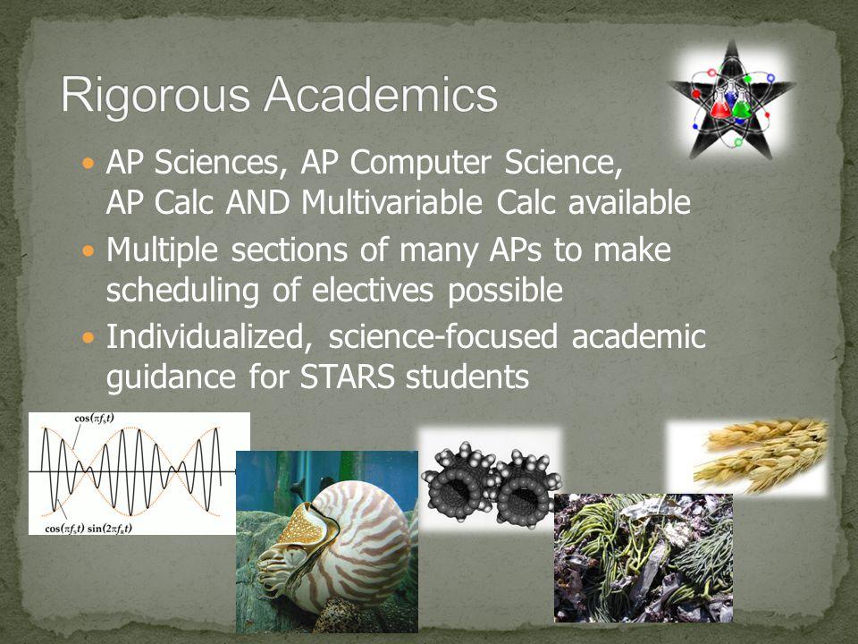 Rigorous Academics AP Sciences, AP Computer Science, AP Calc AND Multivariable Calc available.