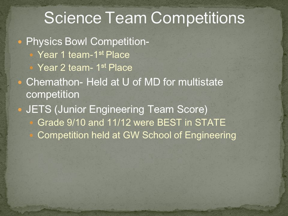 Science Team Competitions