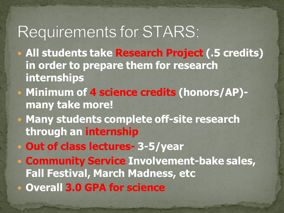 Requirements for STARS: