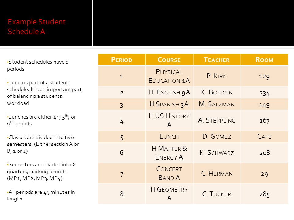Example Student Schedule A