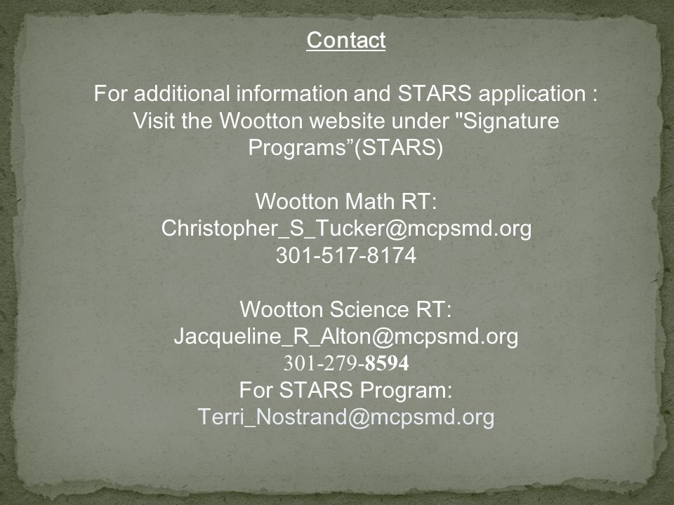 For additional information and STARS application :