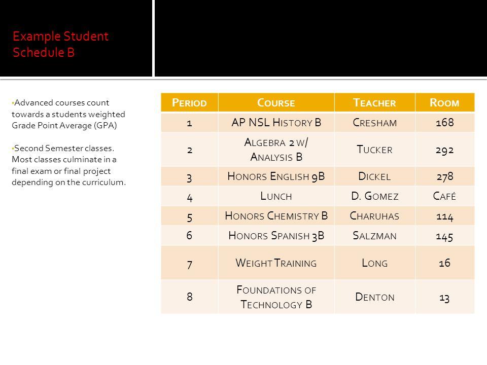 Example Student Schedule B