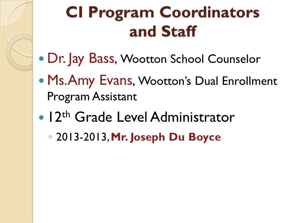 CI Program Coordinators and Staff