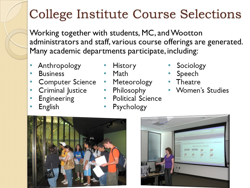 College Institute Course Selections