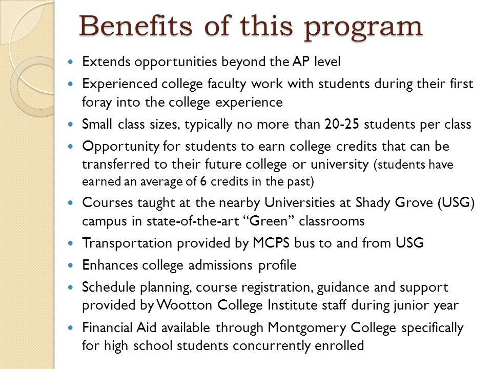 Benefits of this program