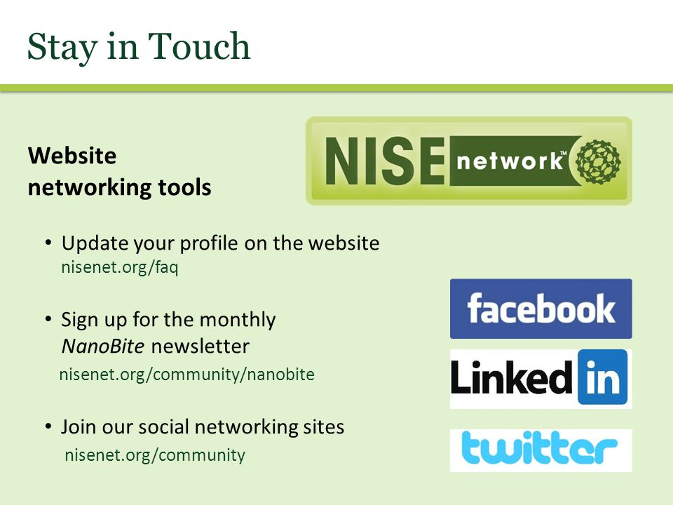 Stay in Touch Website networking tools