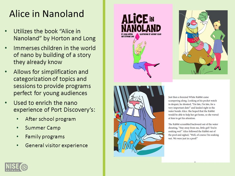 Alice in Nanoland Utilizes the book Alice in Nanoland by Horton and Long.